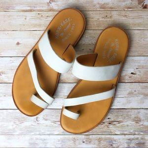 Kork-Ease White Leather Slide Sandals